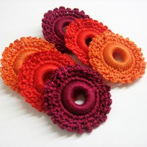 Crocheted hoops handmade wood beads..
