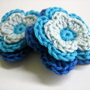 Handmade crocheted cotton flower ap..