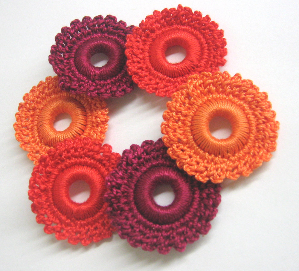 Crocheted hoops handmade wood beads in maroon, red and orange 1,6 inches, 6pc