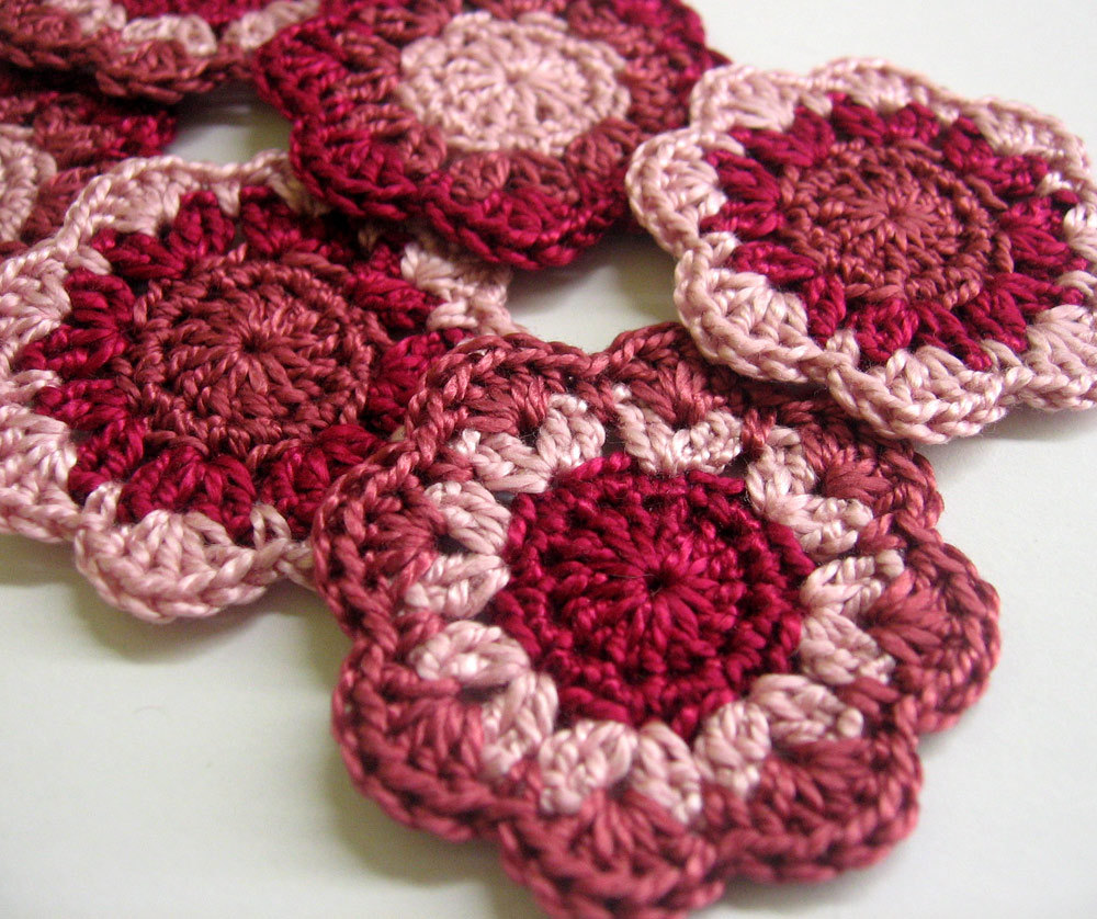 Crocheted flower appliques - handmade cotton motifs in red and pink, set of 6