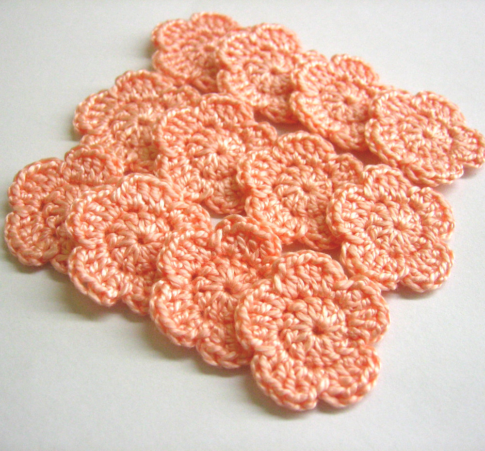 Tiny handmade crocheted cotton flower appliques set of twelve peach pink one inch