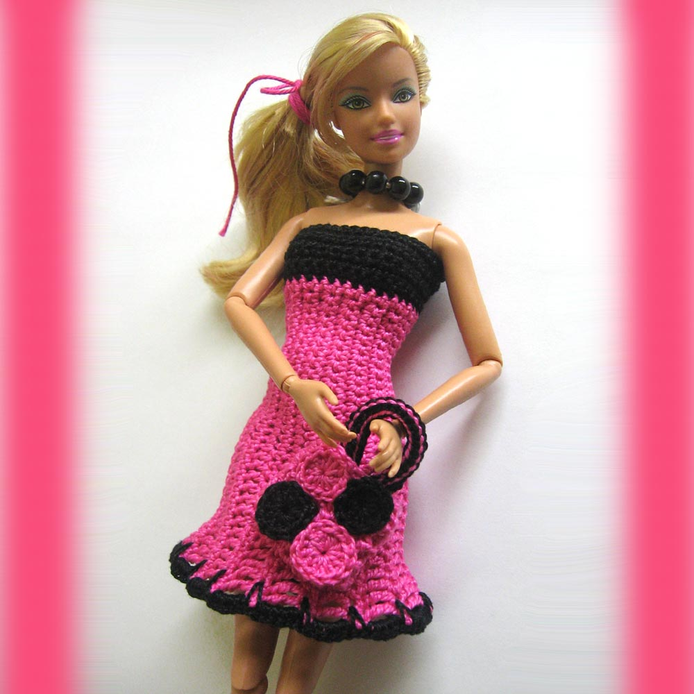 Doll Dress With Matching Bag For Barbie Doll Crocheted In Pink And ...