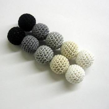 Crochet beads 20 mm handmade round black, white, gray and ecru balls, set of 10