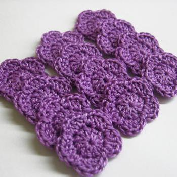 Handmade crocheted cotton tiny flower appliques set of twelve purple 1 inch