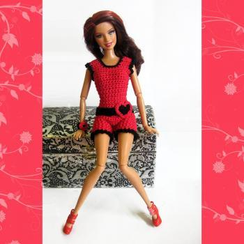 Barbie clothes crocheted red and black beach outfit shorts top and accessories ready to ship